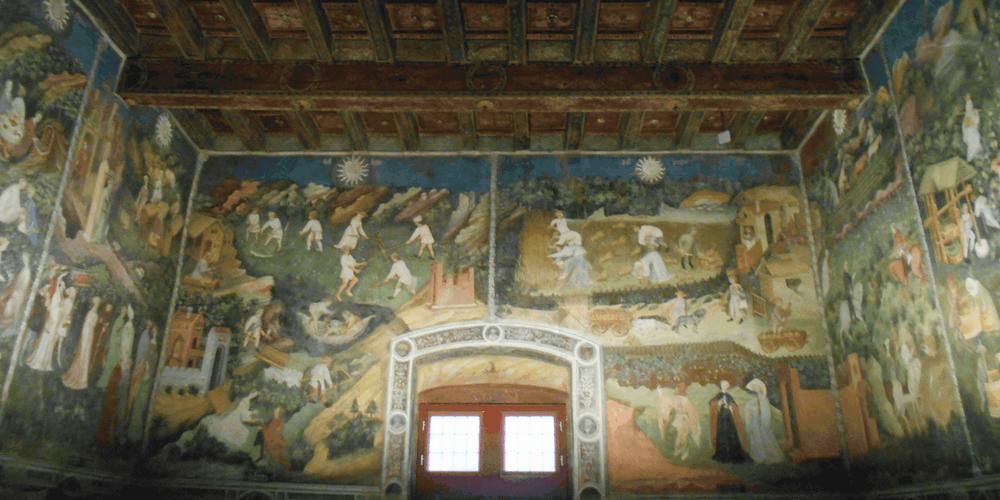 Ciclo dei mesi a Torre Aquila parete occidentale
