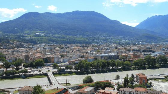 Trento dall'alto e una parte del quartiere Piedicastello