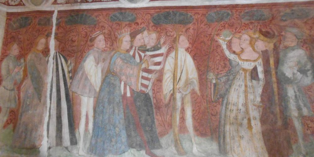 Dettaglio su uno degli affreschi di Castel Roncolo