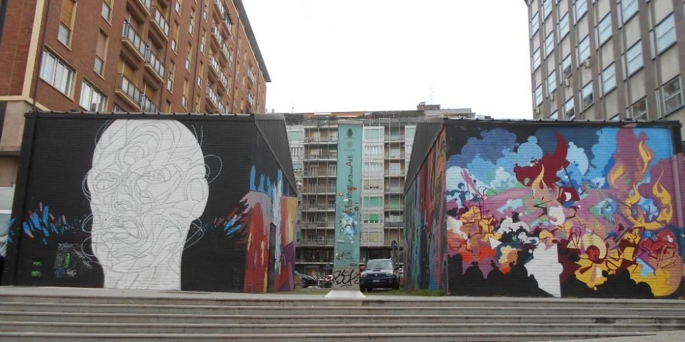 Murales all'entrata della Manifattura delle Arti bo